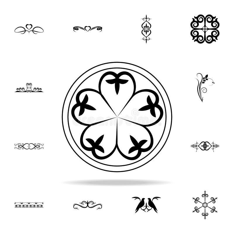 орнамент в значке круга Комплект значков орнаментов всеобщий для сети и черни бесплатная иллюстрация