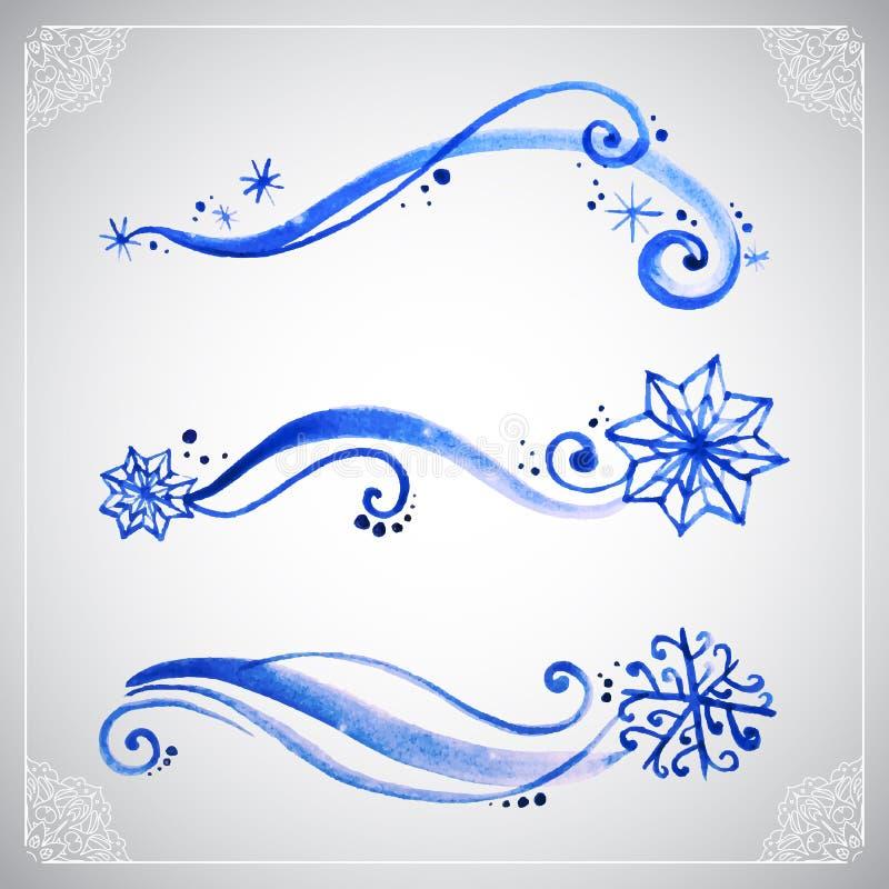 Орнамент заморозка зимы акварели иллюстрация вектора