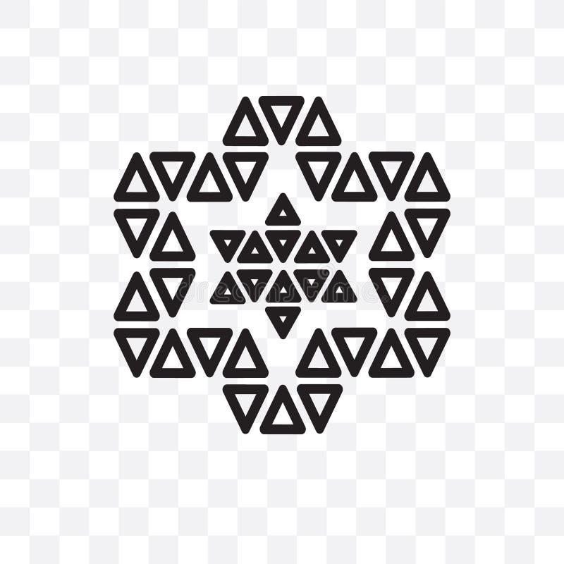 Орнамент значка вектора треугольников линейного изолированного на прозрачной предпосылке, орнамент звезды звезды концепции трансп иллюстрация вектора