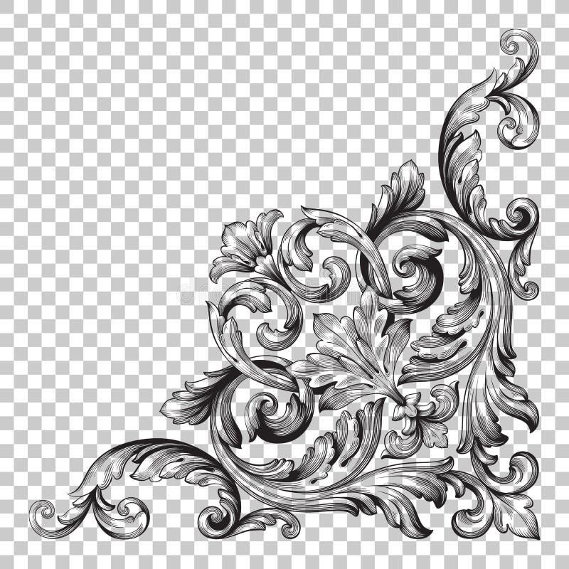 Орнамент изолята угловой в стиле барокко бесплатная иллюстрация
