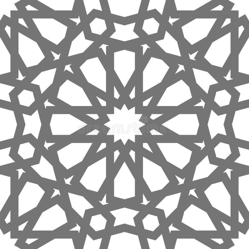 Орнамент исламского вектора геометрический, традиционное арабское искусство Востоковедная безшовная картина Мусульманская мозаика иллюстрация штока