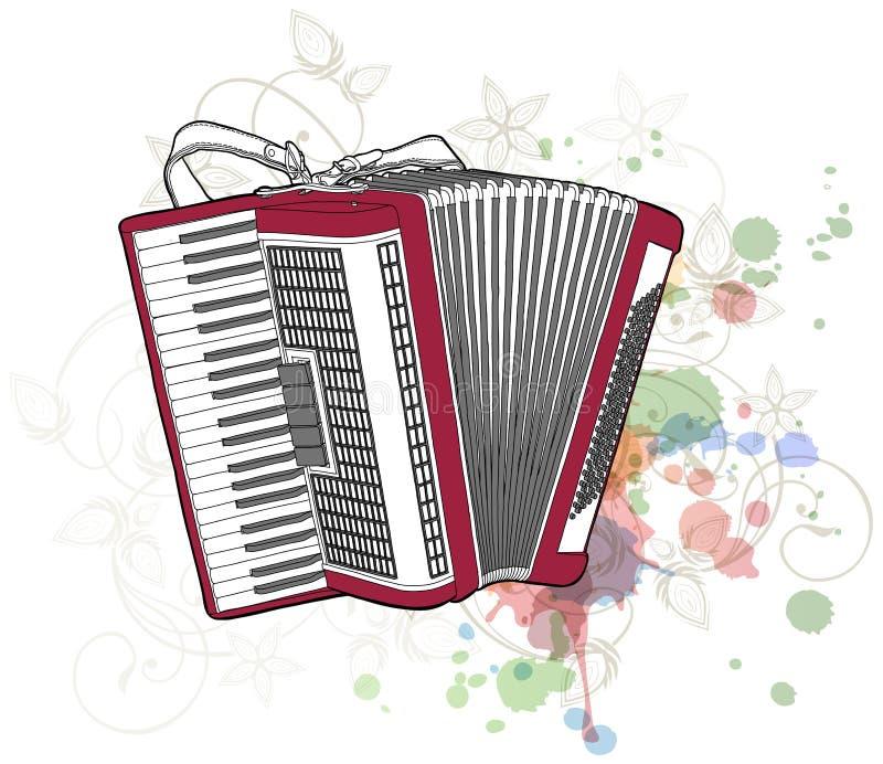 орнамент каллиграфии аккордеони флористический иллюстрация вектора