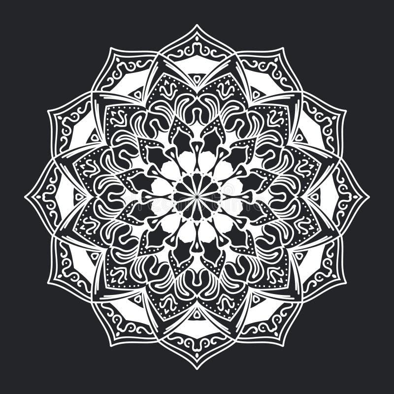 Орнамент картины мандалы черно-белый для дизайна и предпосылки элемента бесплатная иллюстрация