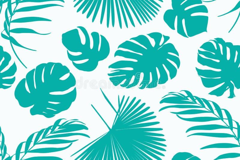 Орнамент картины экзотической тропической растительности ботанический с monstera пальмы джунглей выходит богемская предпосылка оф иллюстрация штока