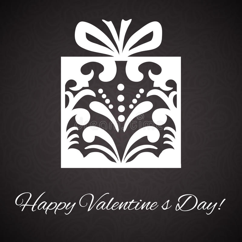 Орнамент коробки Day.Gift валентинки на абстрактной винтажной предпосылке бесплатная иллюстрация