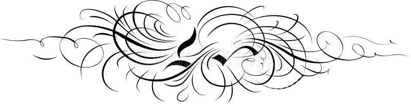 орнамент кривых каллиграфии отдельно иллюстрация штока