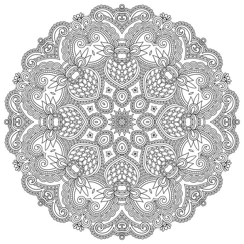 Орнамент круга, черно-белый орнаментальный круг иллюстрация штока