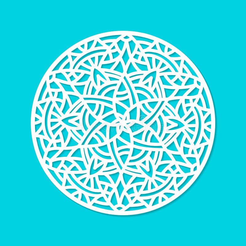 Орнамент мандалы вектора отрезка лазера Силуэт картины выреза с абстрактными формами Умирает элемент отрезка иллюстрация штока