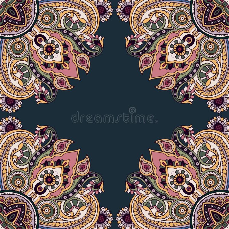 Орнамент мандалы Пейсли иллюстрация штока