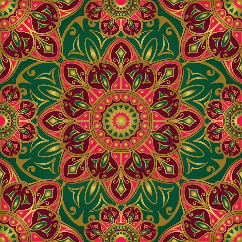 Download Орнамент на зеленой предпосылке Иллюстрация вектора - иллюстрации насчитывающей ковер, индонезийско: 81800460