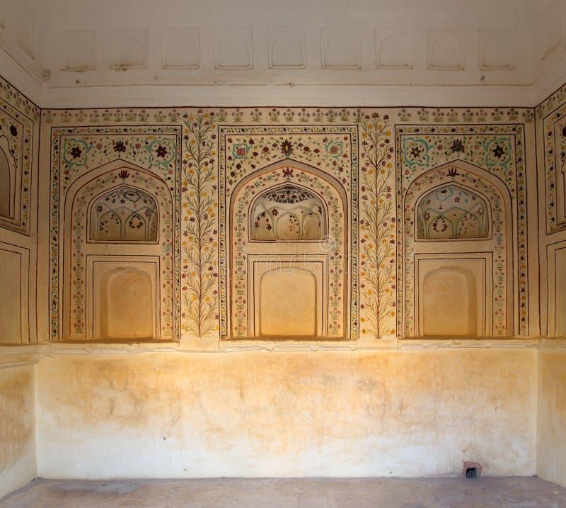 Орнамент на стене дворца в форте Джайпура стоковая фотография