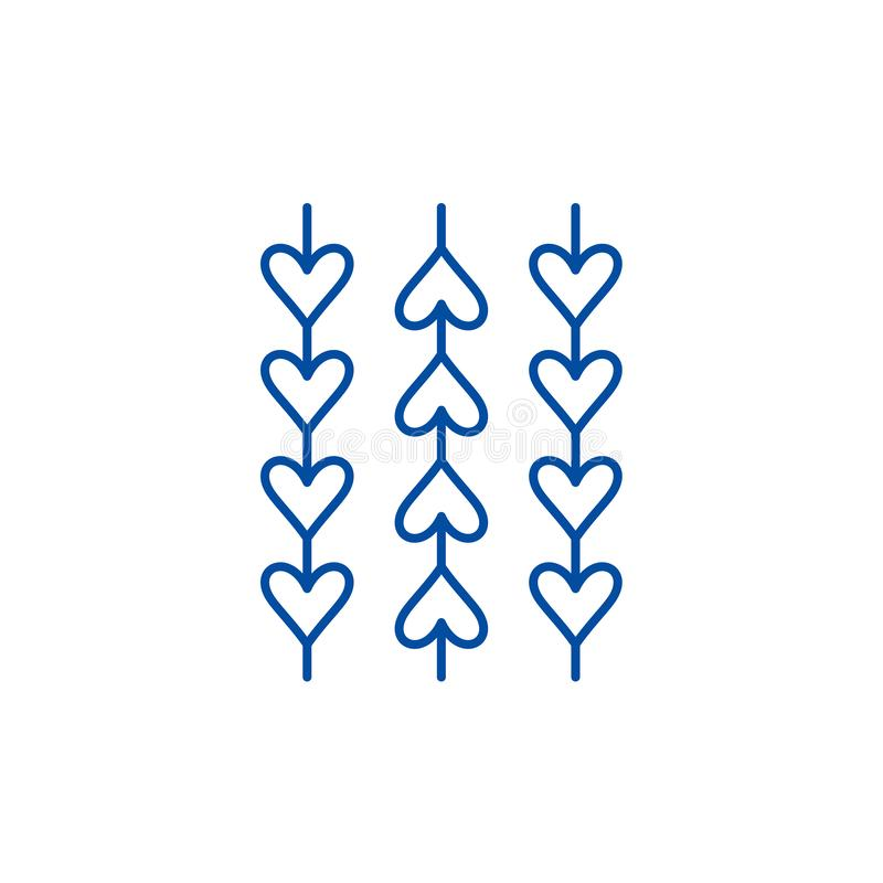 Орнамент от линии сердец концепции значка Орнамент от символа вектора сердец плоского, знака, иллюстрации плана иллюстрация вектора