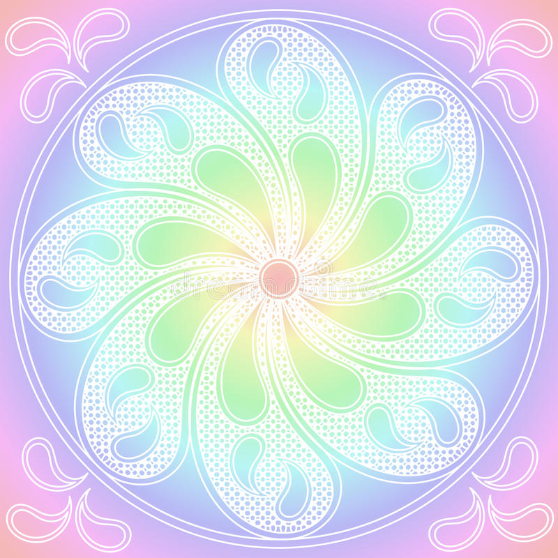 Орнамент пастельных цветов мандалы круглый иллюстрация вектора