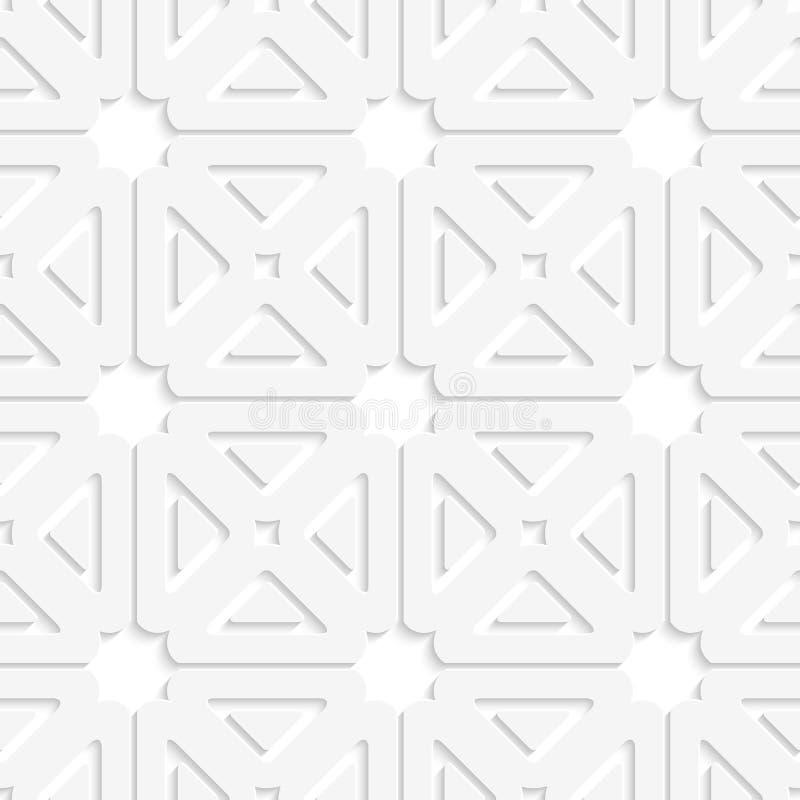 Орнамент плитки белых квадратов и треугольников иллюстрация штока