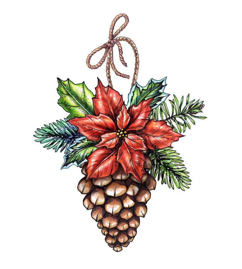 Орнамент рождества акварели, украшенная иллюстрация конуса сосны, иллюстрация вектора