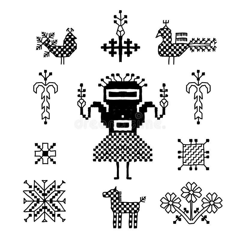 Орнамент русской фольклорной вышивки, черного изолированной на белой предпосылке Собрание цветков, птиц, павлинов, лошади, челове иллюстрация вектора