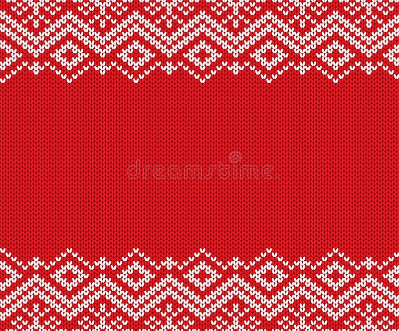 Орнамент связанного рождества красный и белый геометрический Дизайн текстуры свитера зимы knit Xmas иллюстрация штока