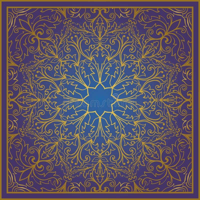 Орнамент сини и золота иллюстрация вектора