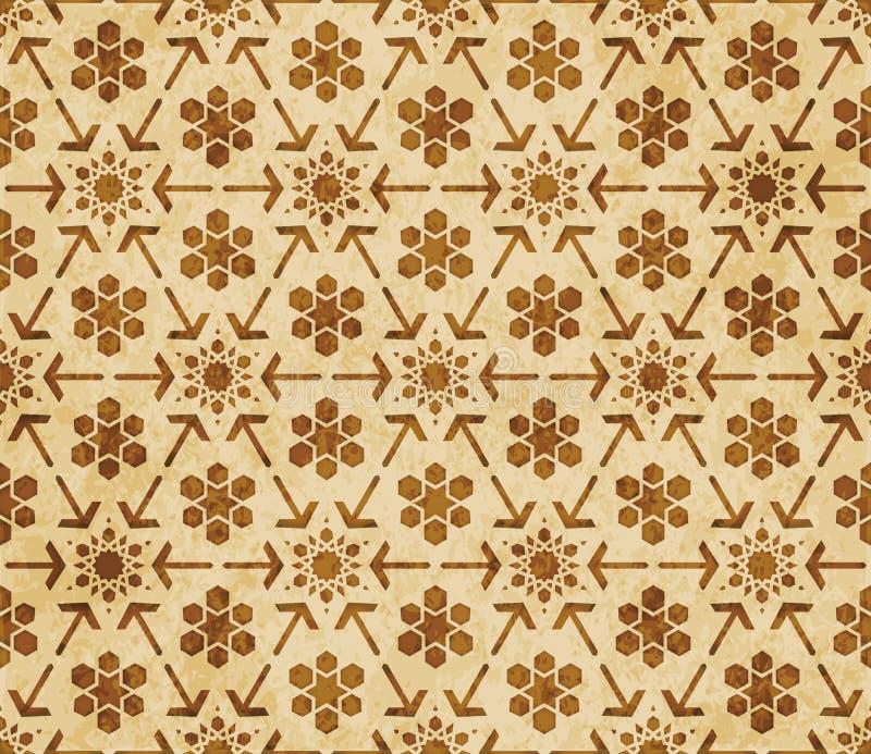Орнамент стиля ретро коричневой предпосылки картины геометрии ислама безшовной восточный иллюстрация вектора