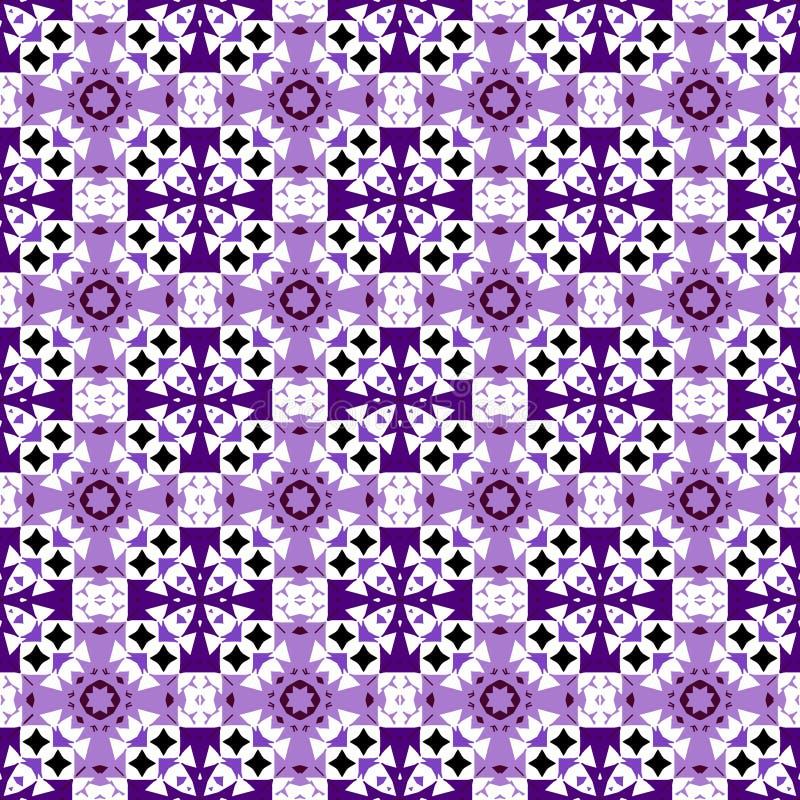 Орнамент фиолета вектора, пурпурных и черных безшовный иллюстрация вектора