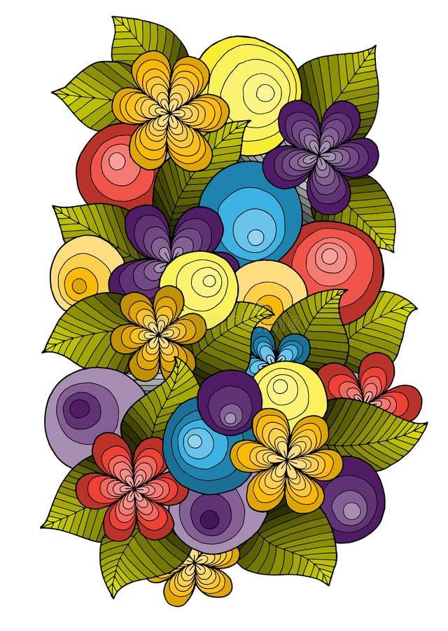 Орнамент цветка, дизайн шаблона Флористическая мандала Вручите вычерченную картину чернил сделанную трассировкой от эскиза иллюстрация вектора