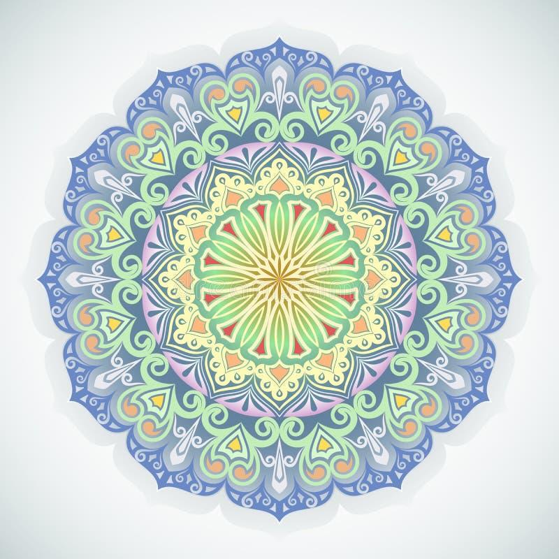 Орнамент цветка круглый иллюстрация вектора
