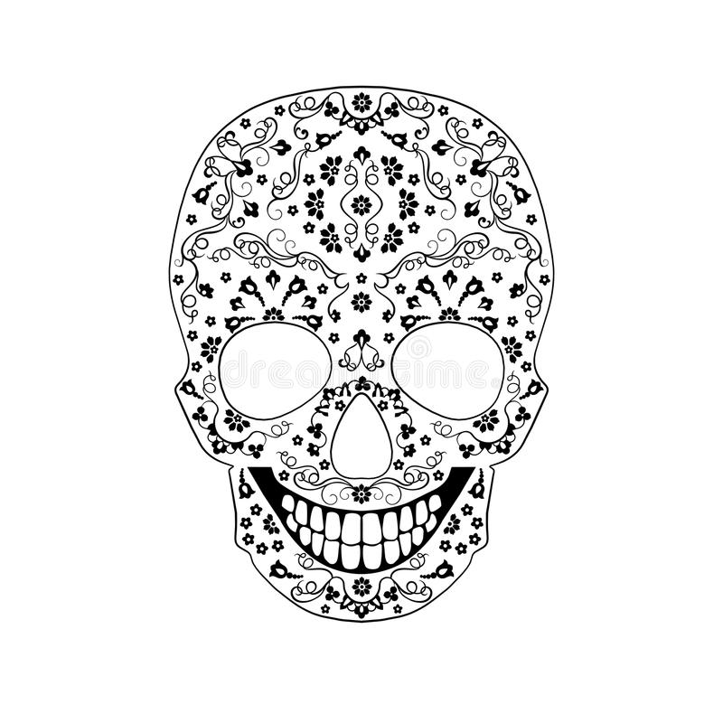 Орнамент черепа контура вектора monochrome иллюстрация штока