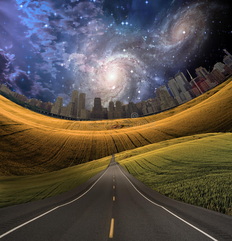 дорога города, котор нужно vector иллюстрация штока