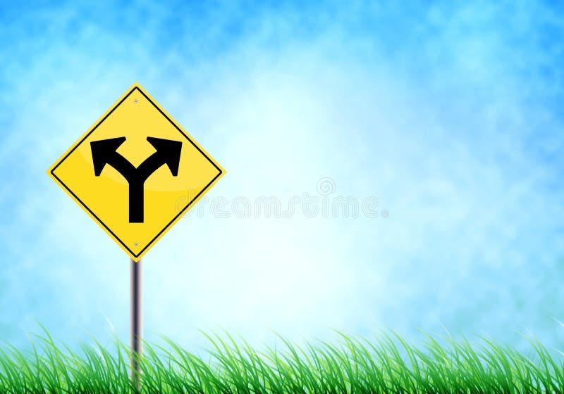 дорога 'соединения' реалистическая металлическая на знаке gra неба и пола иллюстрация штока