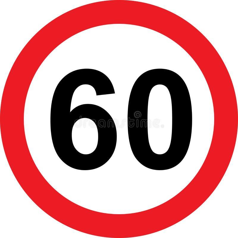 дорожный знак ограничения 60 скоростей иллюстрация вектора