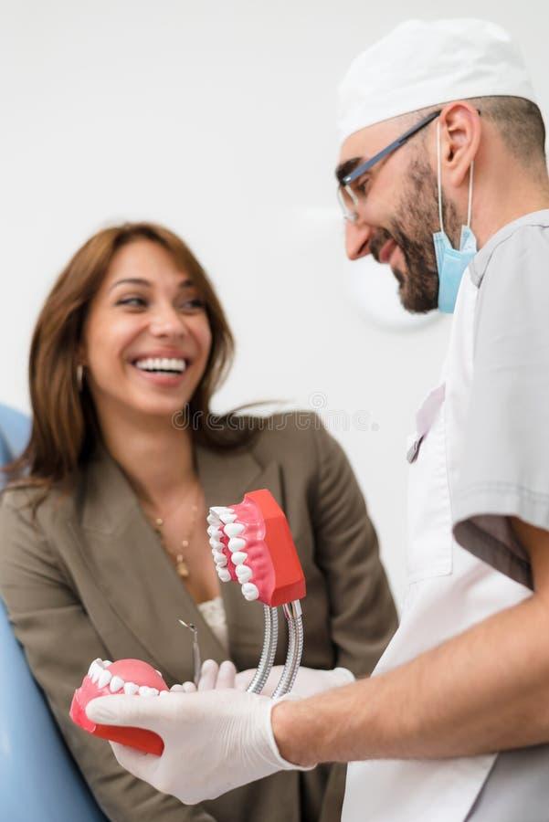 Ортодонт показывает девушку на примере человеческой челюсти, как зубы аранжированы во рте стоковое изображение rf