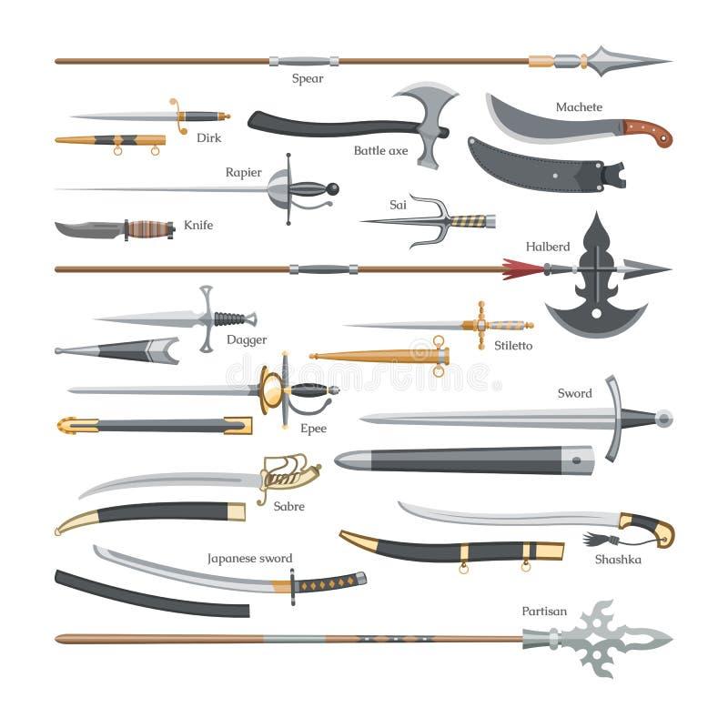 Оружие вектора шпаги средневековое рыцаря с острым комплектом broadsword иллюстрации лезвия и ножа пиратов сражени-оси или иллюстрация вектора