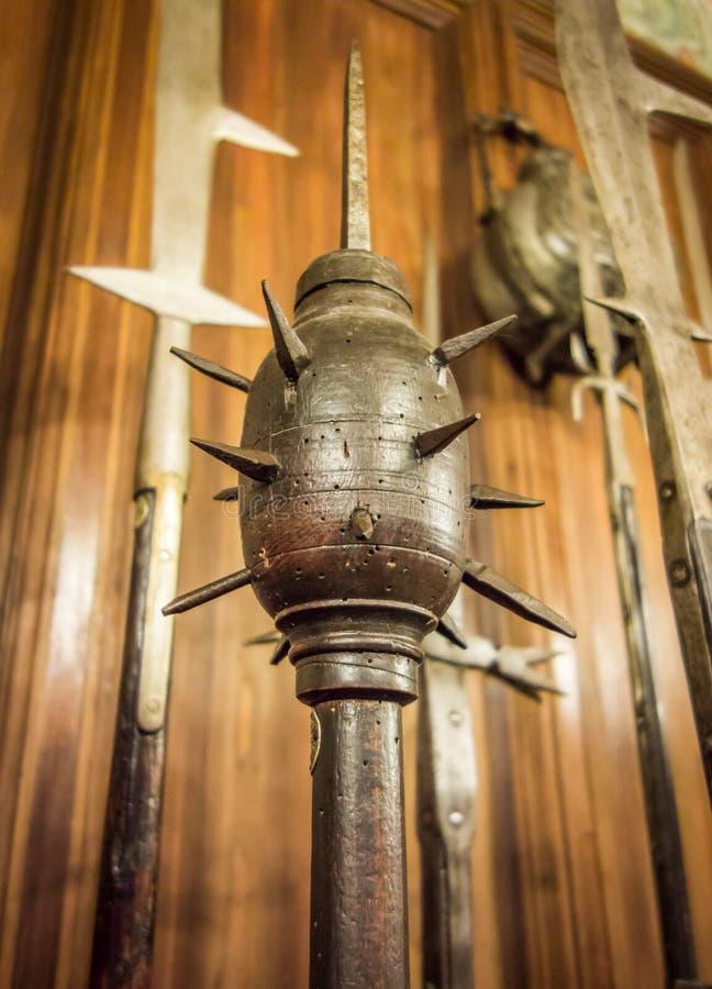 Оружие утренней звезды средневековое подобное к жезлу стоковое фото