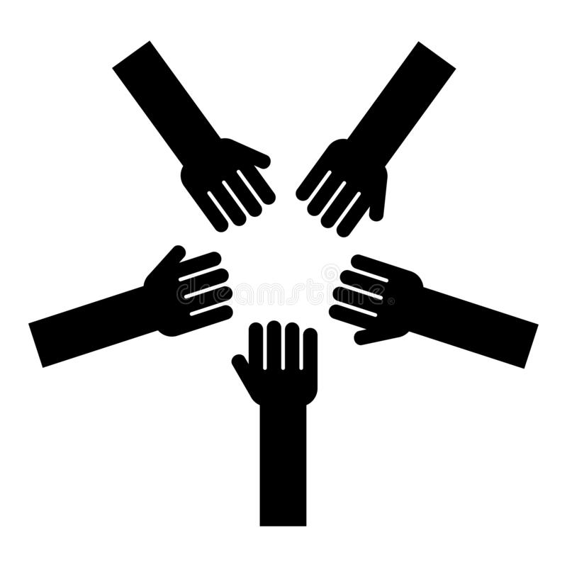5 оружий группы рук много рук соединяя открытые людей ладоней кладя их руки совместно штабелируют черноту значка единства концепц иллюстрация штока
