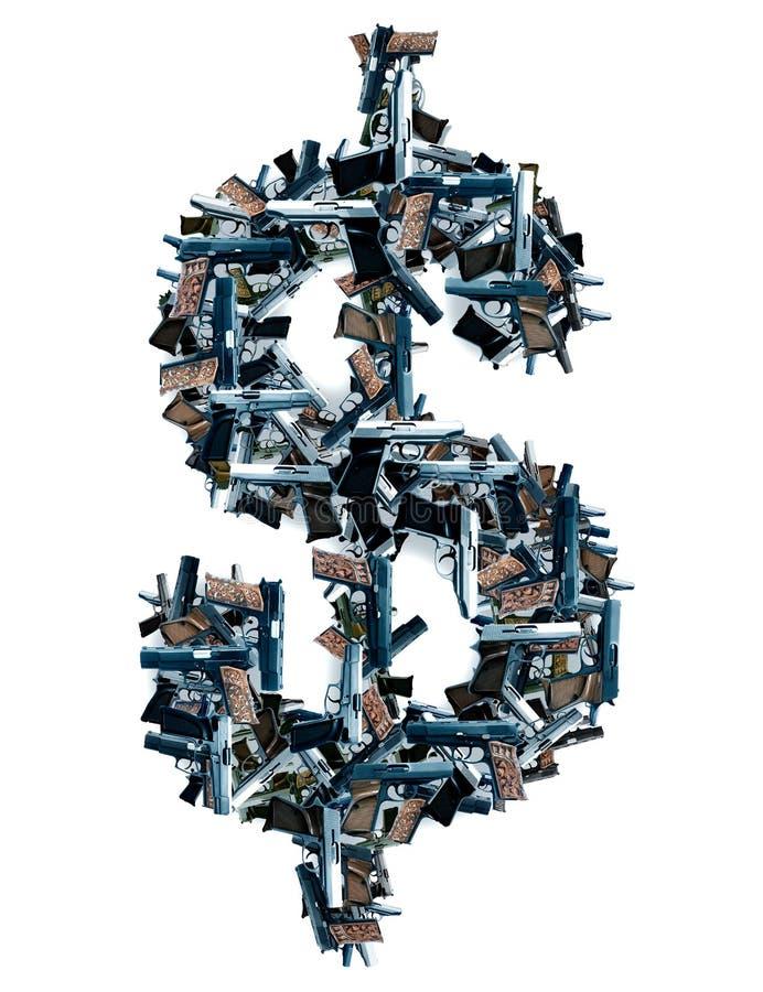 Оружи и знак доллара стоковая фотография