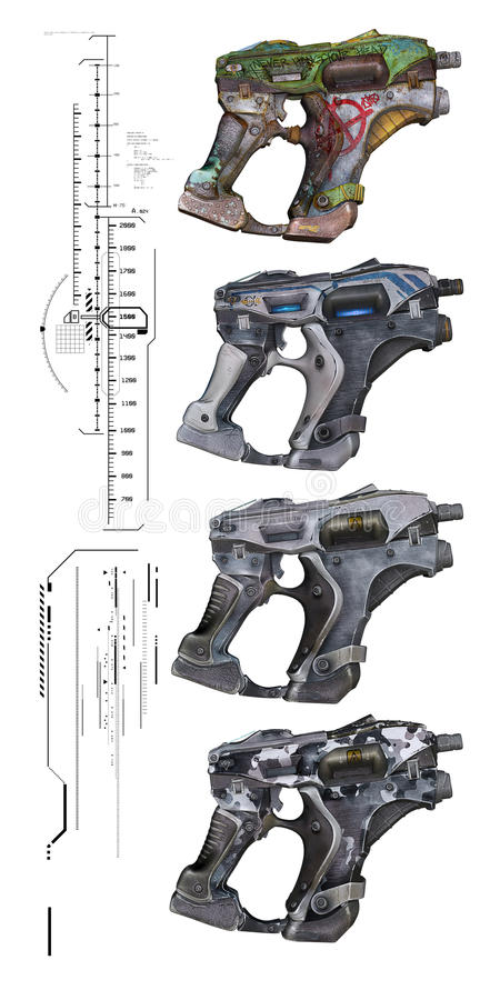 Оружи научной фантастики иллюстрация вектора