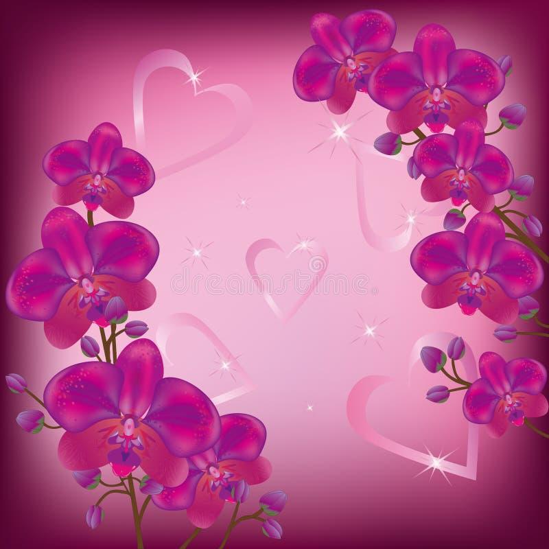орхидеи предпосылки праздничные иллюстрация штока