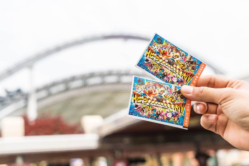 Осака, Япония - 21-ое ноября 2016: Новый билет студий Universal стоковые изображения rf