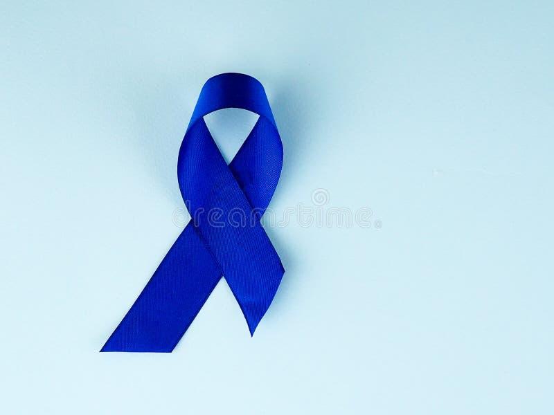 Осведомленность голубой ленты Рак толстой кишки, колоректальная Карцинома, осведомленность насилия над ребенком, день диабета мир стоковое изображение