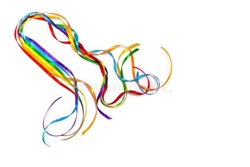 Осведомленность ленты цвета радуги, символический значок логотипа цвета для равных прав в равности любов и замужества социальной стоковое изображение rf