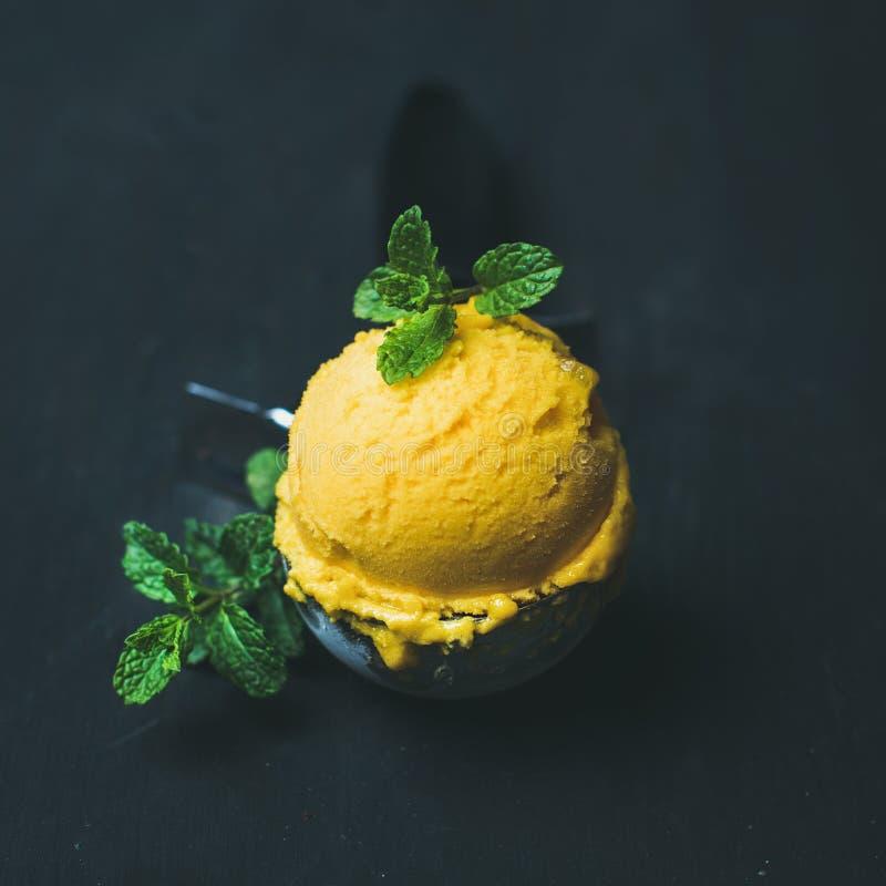 Освежающ ветроуловитель мороженого sorbet манго в scooper, придайте квадратную форму урожаю стоковые фотографии rf
