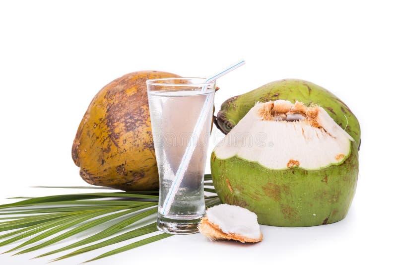 Освежая зеленый фруктовый сок кокоса в стекле на белом backgroun стоковые изображения