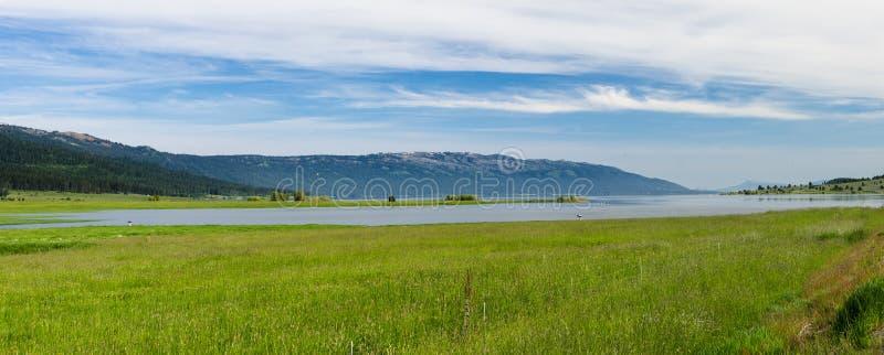 Освежая озеро гор и зеленые травянистые поля предыдущей весны стоковая фотография
