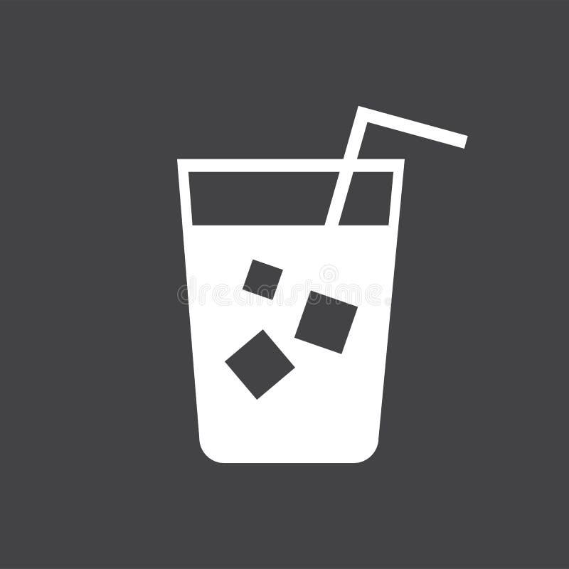 Освежая холодный напиток с иллюстрацией соломы иллюстрация вектора
