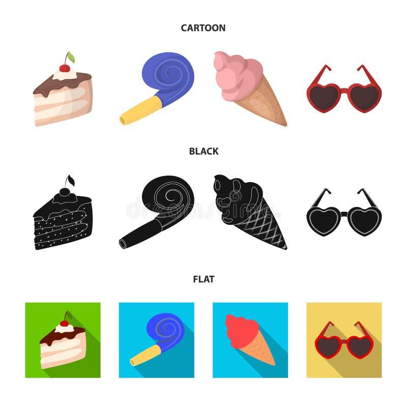 Освежения и другие аксессуары на партии Партия и partits установили значки собрания в шарже, черноте, плоском стиле бесплатная иллюстрация