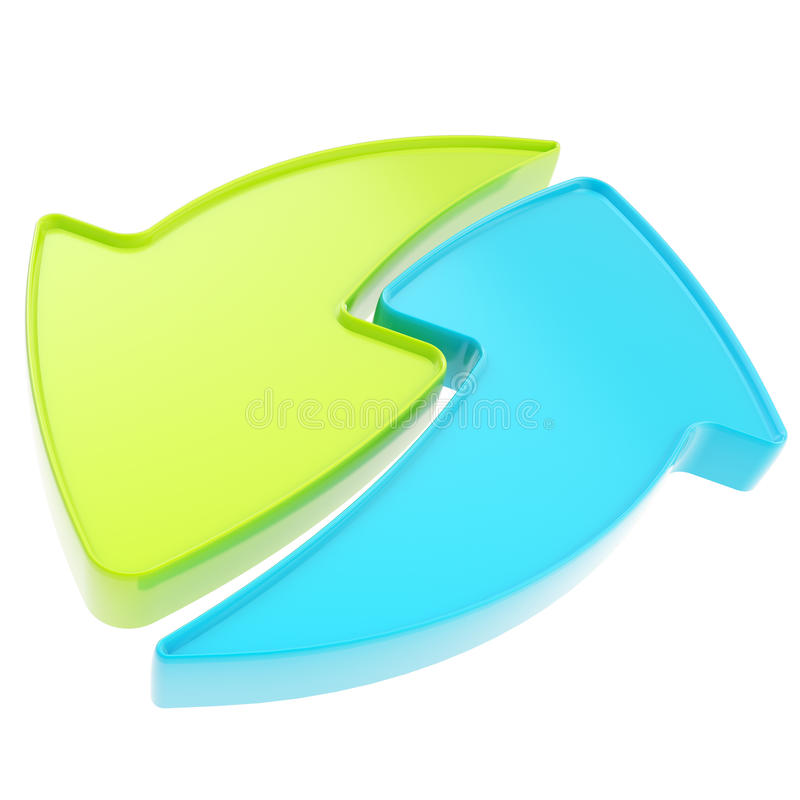 Освежите или рециркулируйте изолированную икону эмблемы стрелки иллюстрация штока