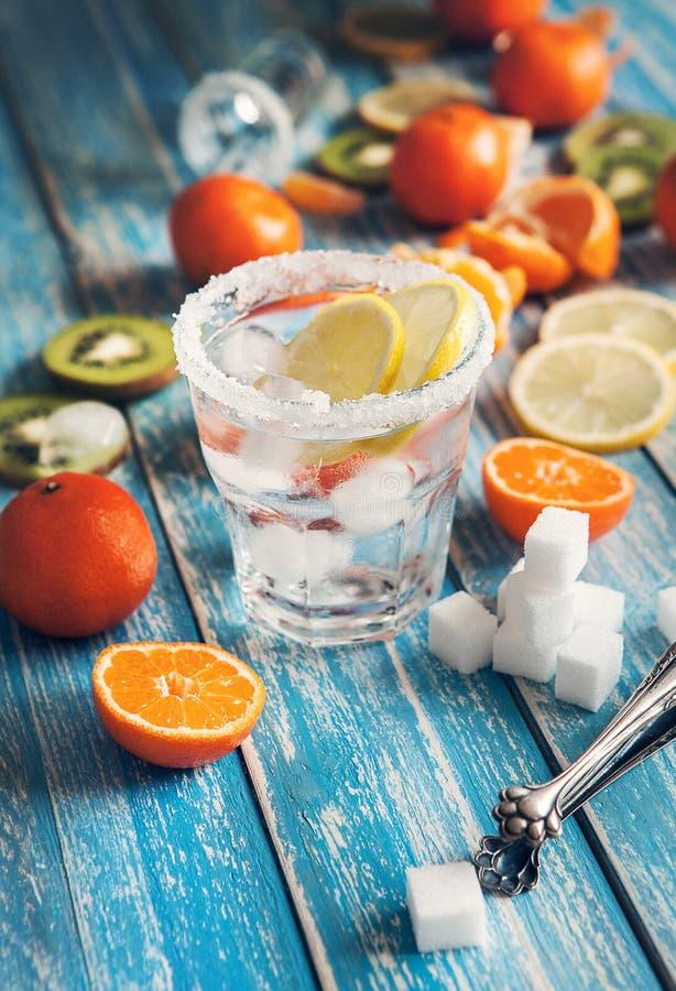Освежите питье с льдом и сортированными цитрусом плодоовощами стоковые фотографии rf