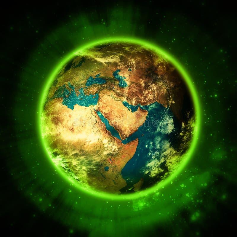 Освещающая зеленая земля планеты - ЗЕЛЕНОЕ ПРОЖИТИЕ иллюстрация вектора