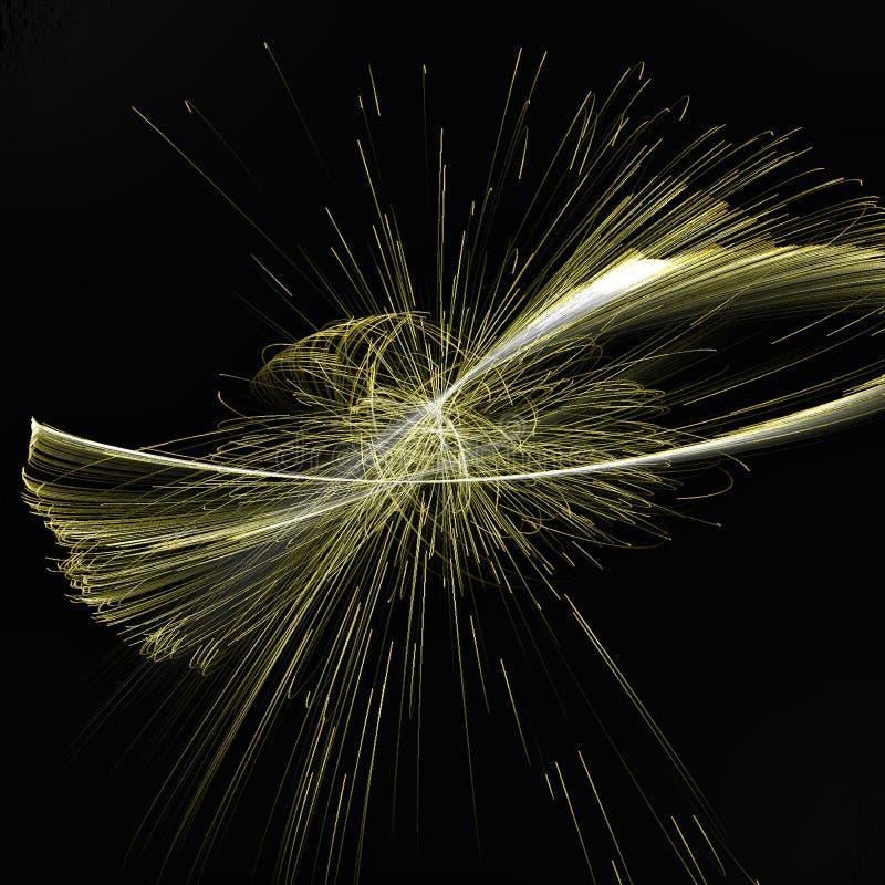 Освещение абстрактной фрактали закручивая с линиями золота закручивая стоковые изображения rf