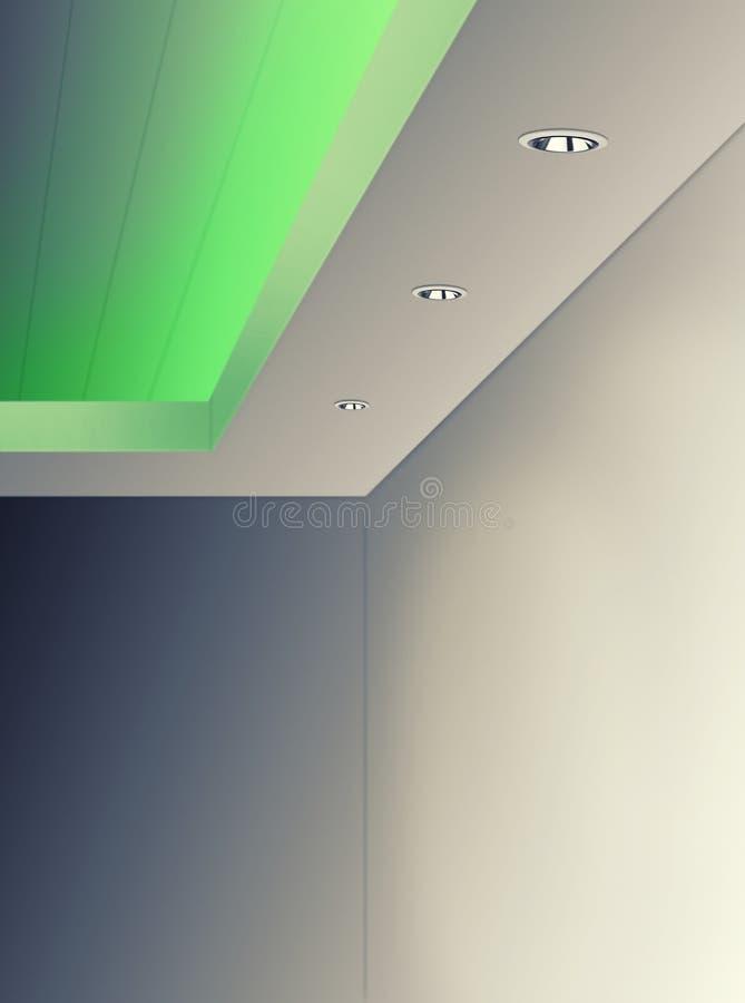 Освещение потолка используя цвет СИД зеленый стоковое фото
